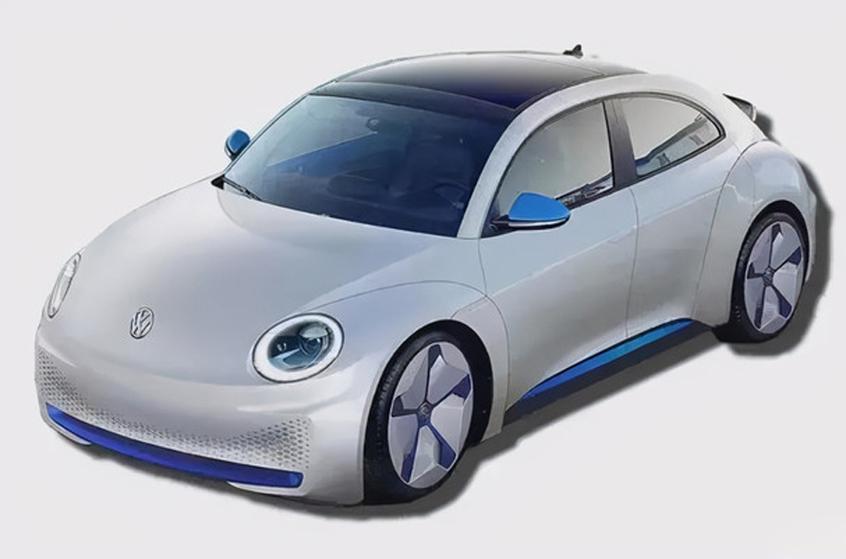 甲壳虫电动版车型的渲染图